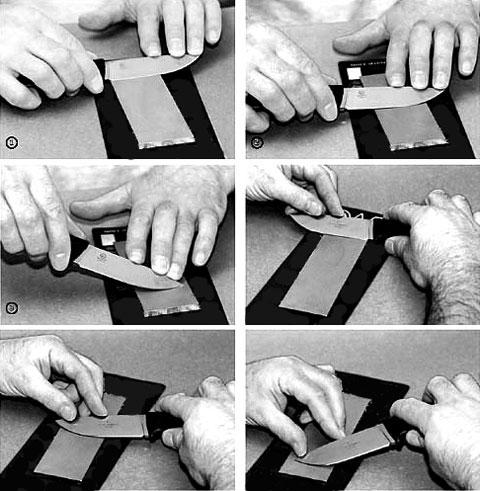 Движения при заточке ножа
